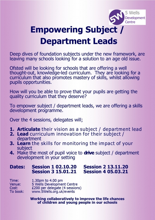 Subject and Department Leader Training page 1